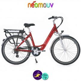 """NEOMOUV CARLINA 26"""" 15.4Ah, couleur cerise et cadre de 46cm avec système d'assistance-Vélo électrique pour Femmes"""