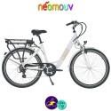 """NEOMOUV CARLINA 26"""" 15.4Ah, couleur blanc et cadre de 46cm avec système d'assistance-Vélo électrique pour Femmes"""