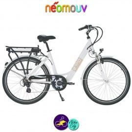 """NEOMOUV CARLINA 28"""" 15.4Ah, couleur blanc et cadre de 46cm avec système d'assistance-Vélo électrique pour Femmes"""