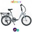 NEOMOUV PLIMOA 11Ah, gris clair et cadre de 40cm avec système d'assistance-Vélo électrique pliant Mixte