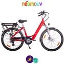 """NEOMOUV CARLINA N7 26"""" 15.4Ah, couleur cerise et cadre de 46cm avec système d'assistance-Vélo électrique pour Femmes"""