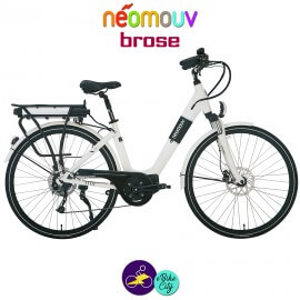 NEOMOUV IRIS 15.4Ah, couleur blanc et cadre de 45cm avec système d'assistance BROSE-Vélo électrique pour Femmes
