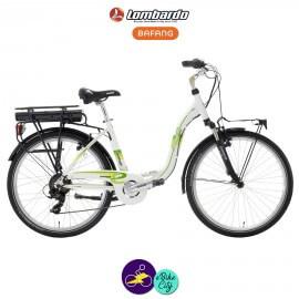"""LOMBARDO E-ELBA SPORT 11.6Ah, couleur blanc et cadre 17"""" avec système d'assistance BAFANG RM G01-Vélo électrique pour Femmes"""