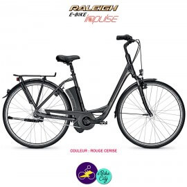 """Raleigh DOVER 7 11Ah, 26"""" cadre 46cm rouge cerise avec système d'assistance IMPULSE 2.0-Vélo électrique pour Femmes"""