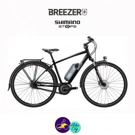 BREEZER-GREENWAY IG+ DI2 11.1Ah, cadre de 58cm en satin noir avec assistance Shimano Steps-Vélo électrique pour Hommes