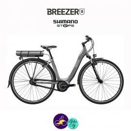 BREEZER-GREENWAY IG+ LS-CB 11.1Ah, cadre de 53cm en satin gris avec assistance Shimano Steps-Vélo électrique pour Femmes