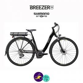BREEZER-GREENWAY+ LS 11.1Ah, cadre de 43cm en satin noir avec assistance Shimano Steps-Vélo électrique pour Femmes