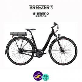 BREEZER-GREENWAY IG+ LS 11.1Ah, cadre de 43cm en satin noir avec assistance Shimano Steps-Vélo électrique pour Femmes