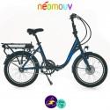 NEOMOUV PLIMOA N3 15.4Ah, bleu lagon et cadre de 40cm avec système d'assistance-Vélo électrique pliant Mixte